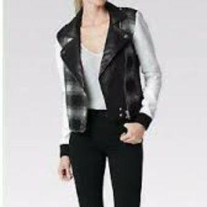 Paige shelly plaid lamb leather moto bomber jacket